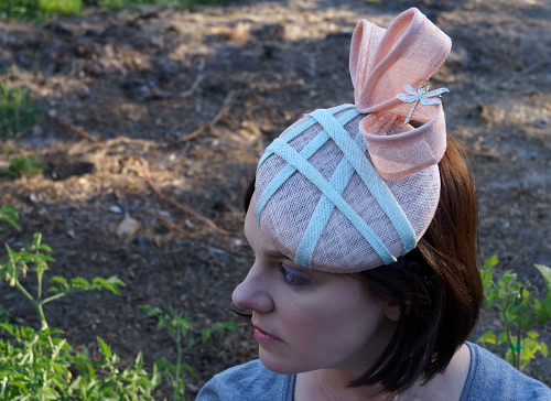 Alternate view of pink sinamay hat