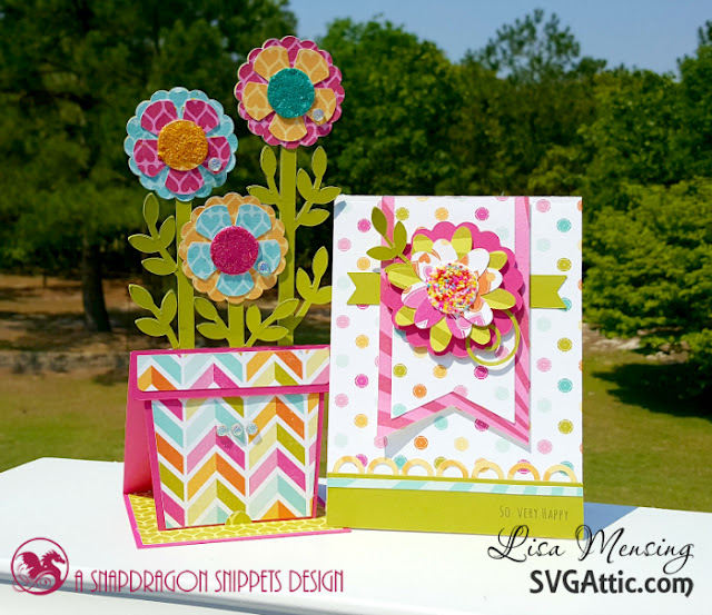 SVG Attic's JGW Beautiful Blooms Cards created in bright, bold colors with a touch of glitter.