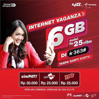 Cara Daftar Paket Internet Vaganza 6 GB Telkomsel Terbaru 2018