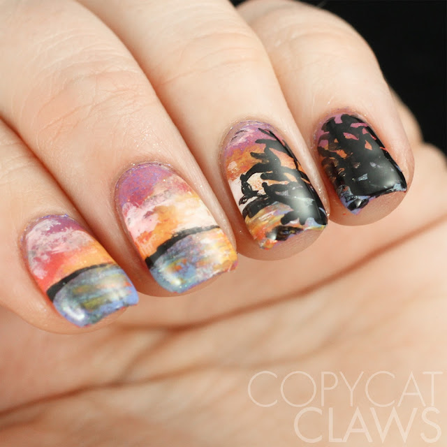 Lake Sunset Nail Art