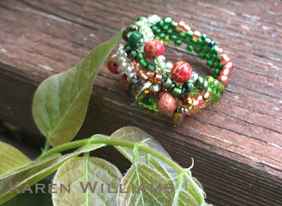 'Trees Budding' freeform peyote ring by Karen Williams