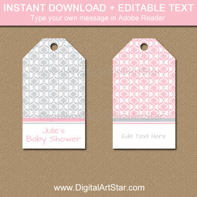 pink and silver hang tags instant download pdf file for baby shower tags, bridal shower tags, wedding tags, birthday tags