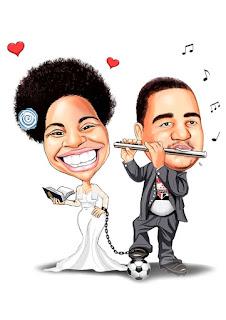 caricatura de noivos músico e médica