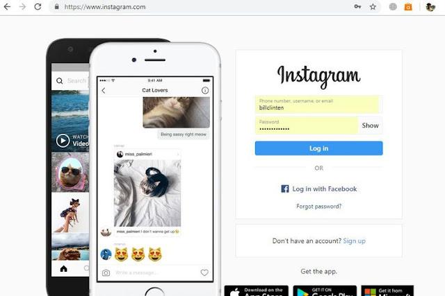 Buka Situs instagram lewat PC browser