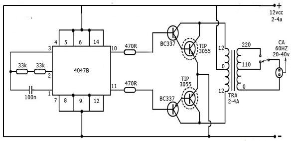 RANGKAIAN INVERTER MENGGUNAKAN IC 4047 DAN TIP3055