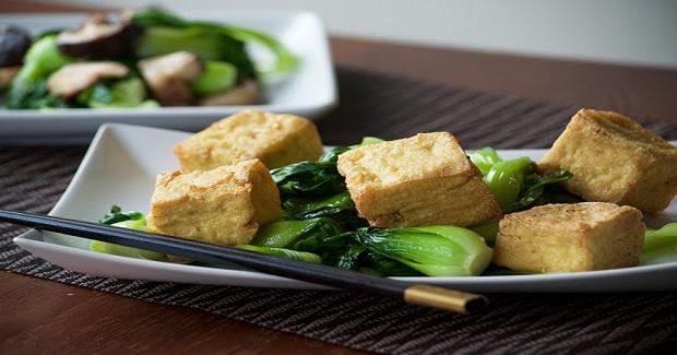 Stir Fry Bok Choy And Deep Fried Tofu Recipe