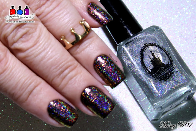 Esmalte Indie, Enchanted Polish, Multichorme, glitter, Ola Rio, Djin in a Bottle, Top Coat holográfico, Mony D07, Studio 35, Vilma Tereza, Preto,