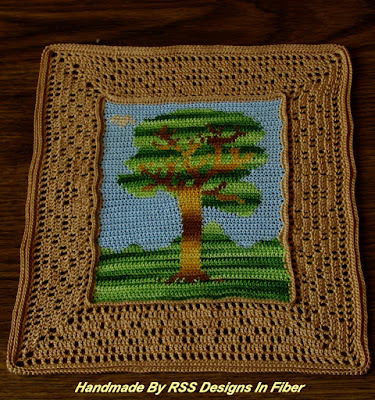 Tree Tapestry Crochet with Bright Greens - Handmade Crochet By Ruth Sandra Sperling - RSS Designs In Fiber