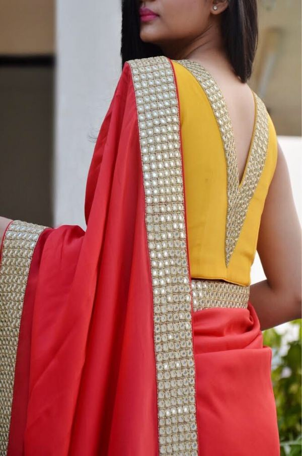 55 Trendy Blouse Back Neck Designs With Borders For Sarees