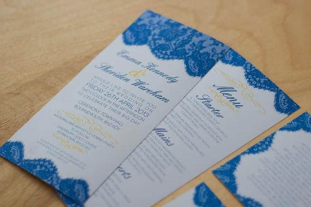 Blue And Yellow Wedding Invitations: Pencil Stitches: Wedding Invitation