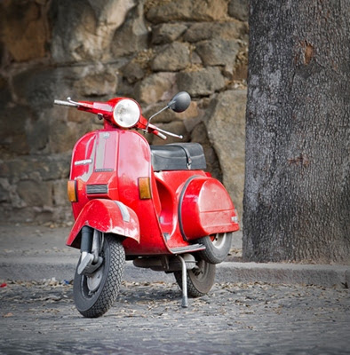 Red Vespa in Italy