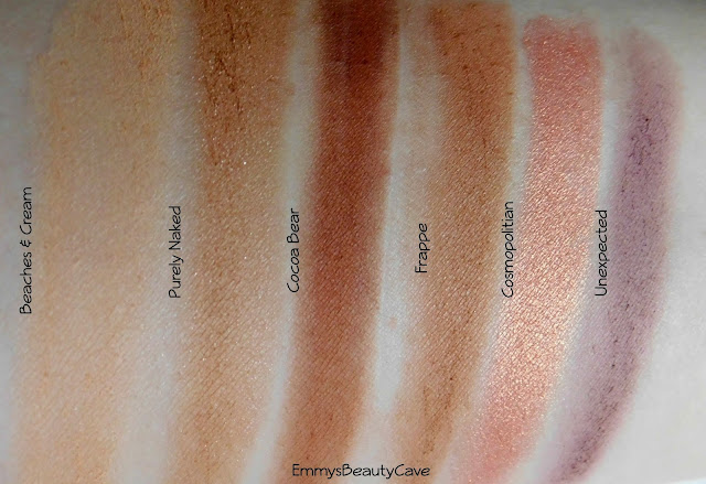 Makeup Geek Swatches Beaches and Cream, Purely Naked, Frappe, Cocoa Bear, Unexpected, Cosmopolitan