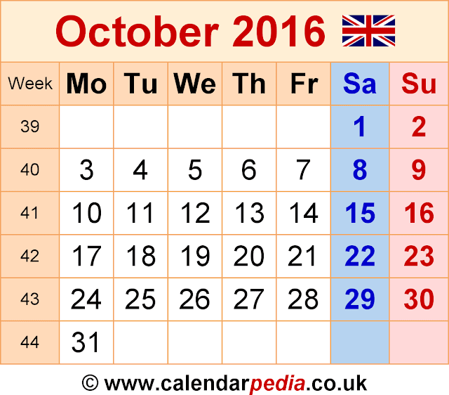 October 2016 Calendar with Holidays, October 2016 Calendar with Holidays UK, October 2016 Holiday Calendar UK, October 2016 UK Holiday Calendar