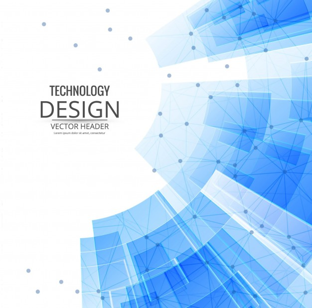 technological background with blue geometric shapes free vector