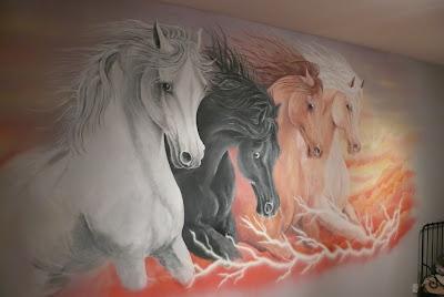Konie w galopie, obraz malowany na ścianie Gdańsk
