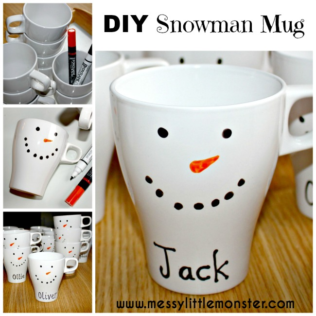 Personalised DIY snowman mug.  DIY mugs are easy to make and a great gift idea.  Follow these simple instructions.