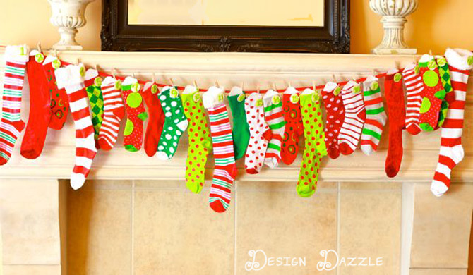 Christmas sock advent calendar on mantel