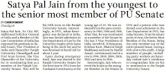 Satya Pal Jain from the youngest to the senior most member of PU Senate