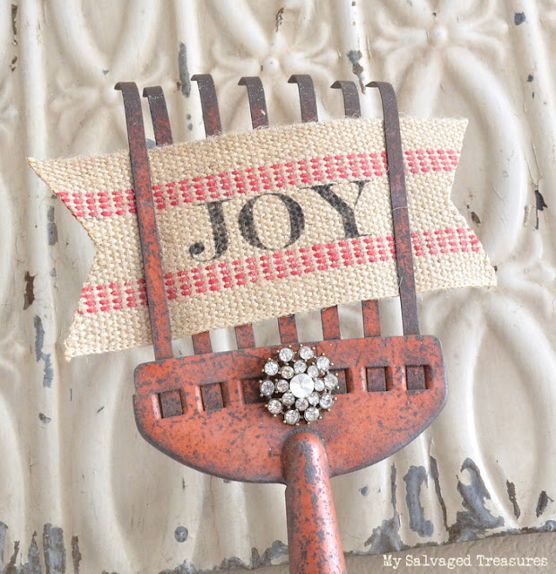 repurposed rhinestone jewelry jute webbing JOY sign