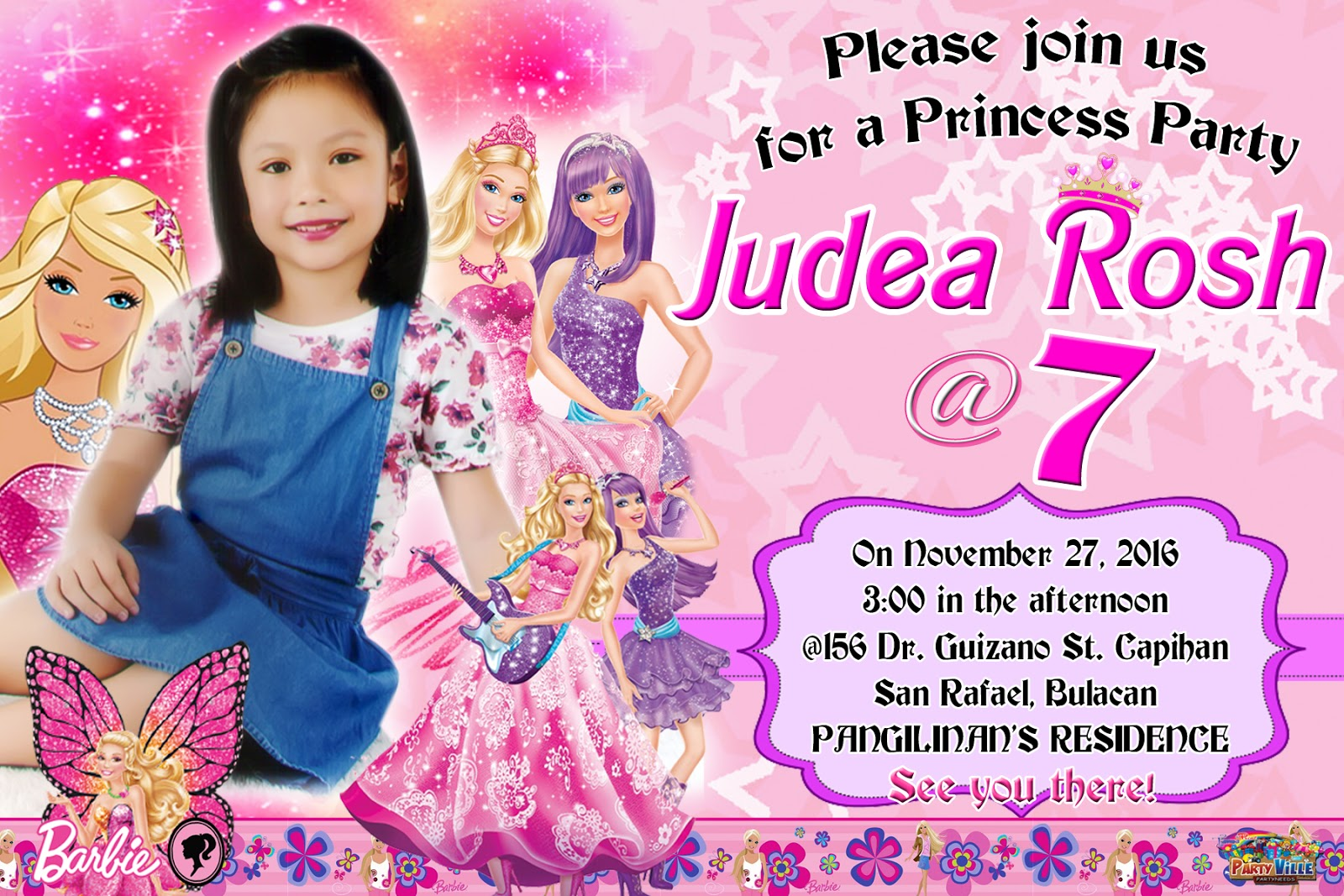 Barbie Design Sample Invitation For 7th Birthday Get Layout
