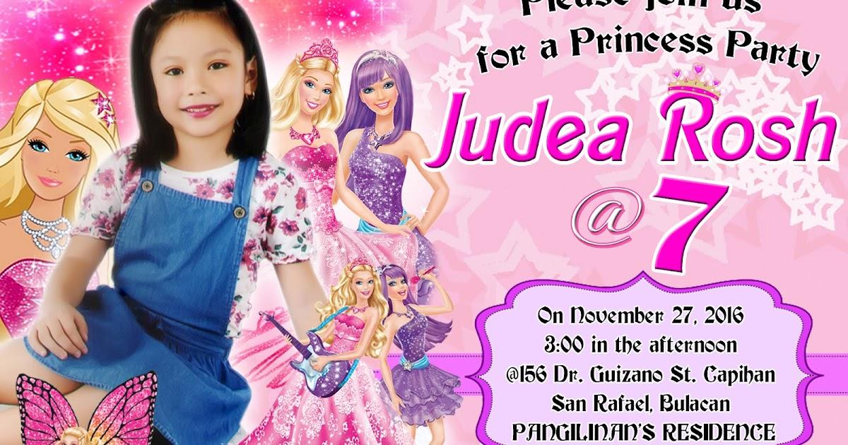 barbie invitation 7th birthday cheap online