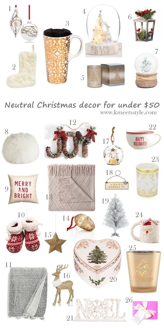 Neutral Christmas decor ideas under $50