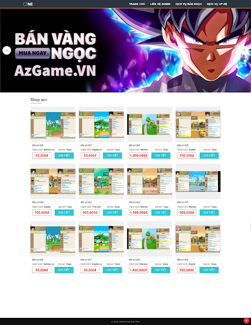 Template blogspot bán acc game ngọc rồng
