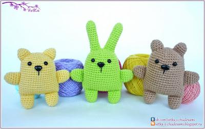 Медведь, заяц, кот игрушки амигуруми