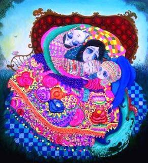 Su mundo de ensueño, un surrealismo andino capturado entre líneas onduladas con colores poderosos que reflejan la sensación y la realidad de nuestra cultura. Personajes que se desarrollan entre realidades y sueños para transformar recuerdos y traerlos a la vida.