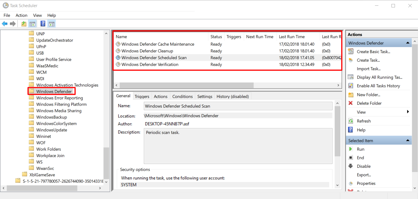 Task Scheduler folder windows defender
