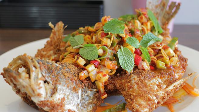 Deep Fried Sea Bass in Thai Herbs