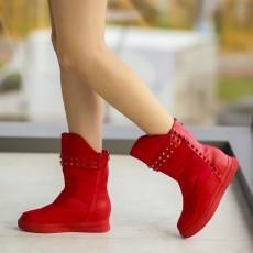 Cizme scurte de iarna la moda rosii ieftine