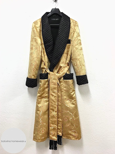 Men's long silk dressing gown gold black paisley quilted robe