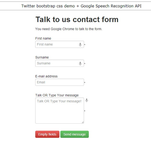 Talk to Us  + Google Speech Recognition