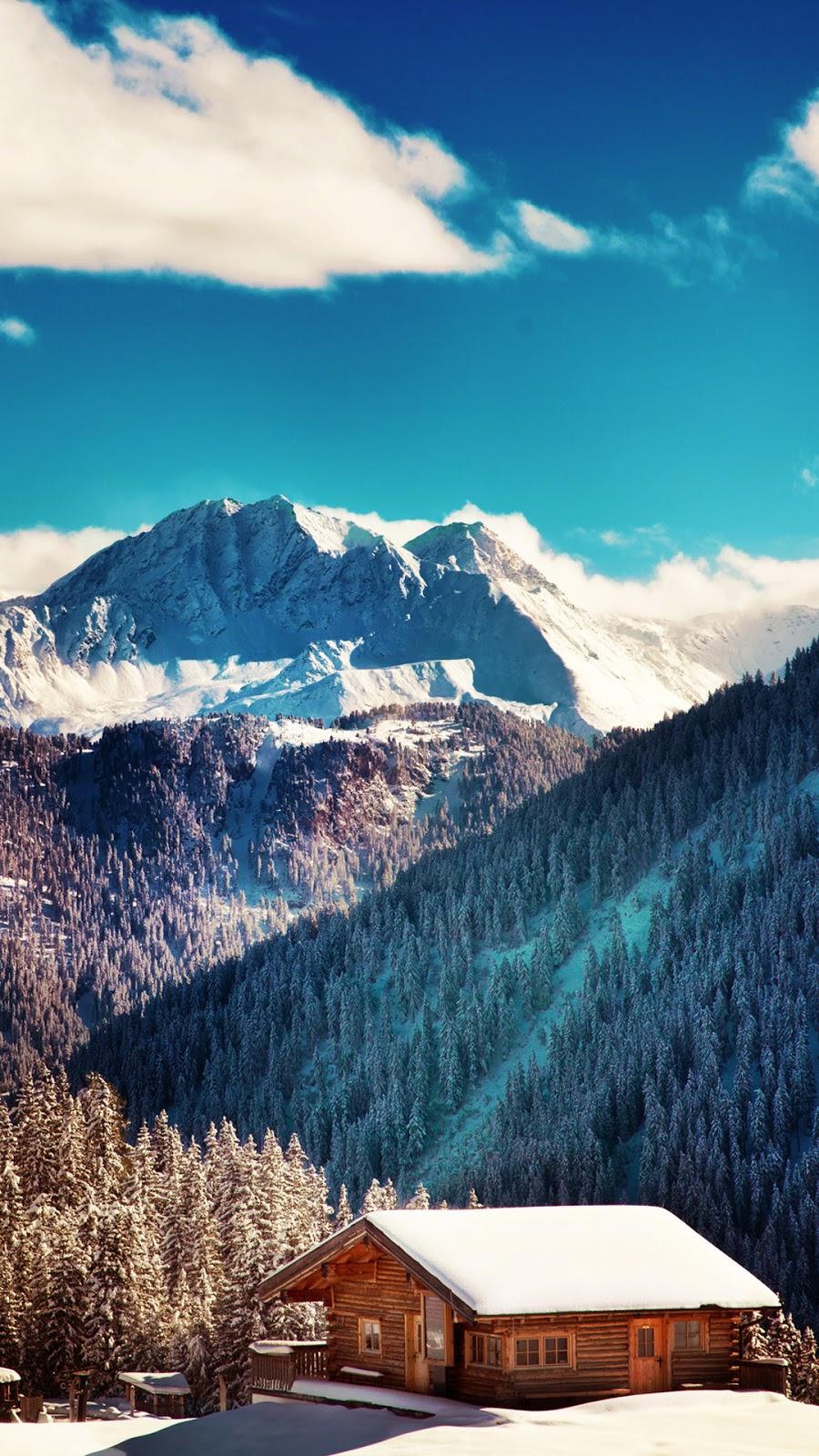 Mountains Chalet Blue Sky Wallpaper