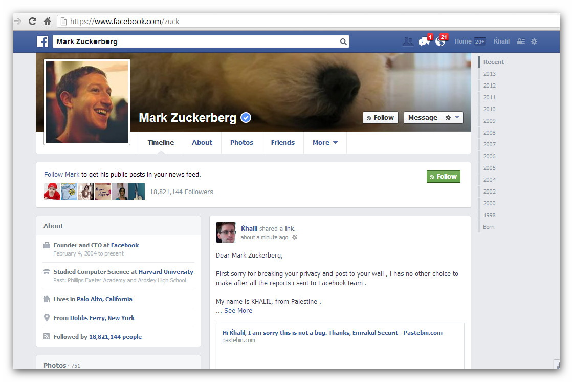 Facebook : La page de Zuckerberg piratée par Khalil Shreateh