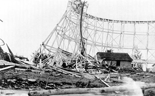 The roller coaster at Four Mile Creek Amusement Park suffered so much damage in the storm of August 3, 1915, that it had to be torn down