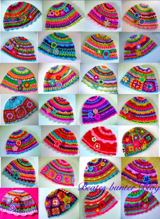 30 multicolored crochet caps