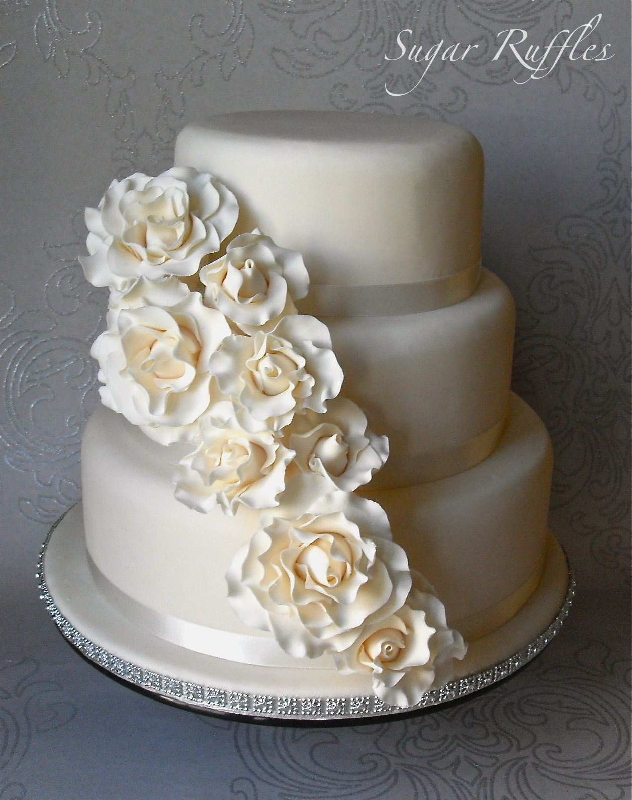 cascading roses wedding cake cascade wedding cake 12431