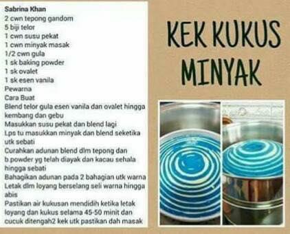 resepi kek kukus minyak