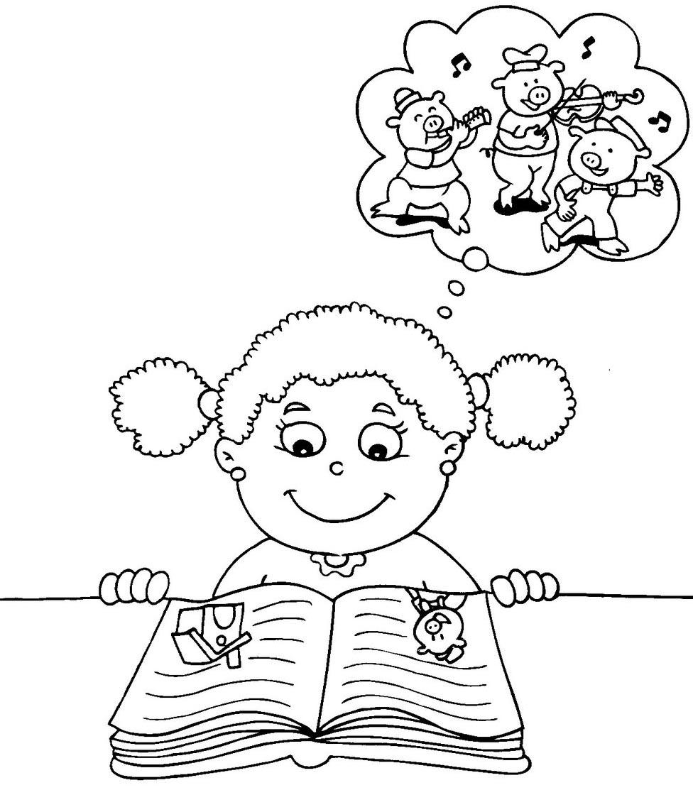 niña leyendo colorear