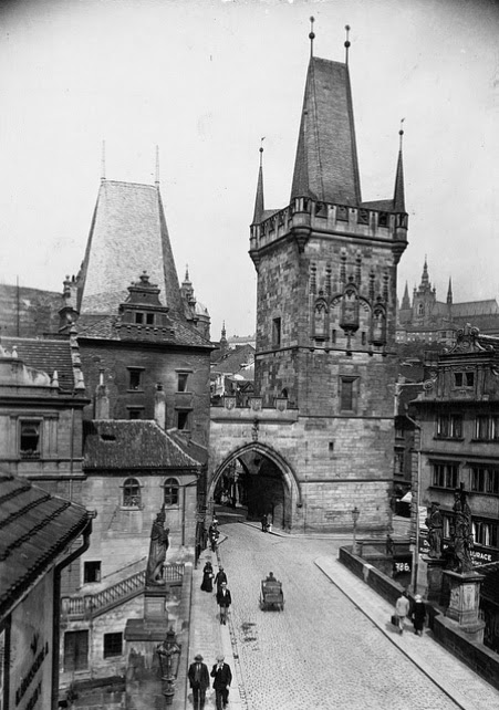 Tower of Charles Bridge (Karluv most) at the Lesser Quarter (Malá Strana) of Prague, Bohemia, the Czech Republic, photographer unknown, c. 1927