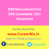 SSB Recruitment for 355 Constable (GD) Vacancies
