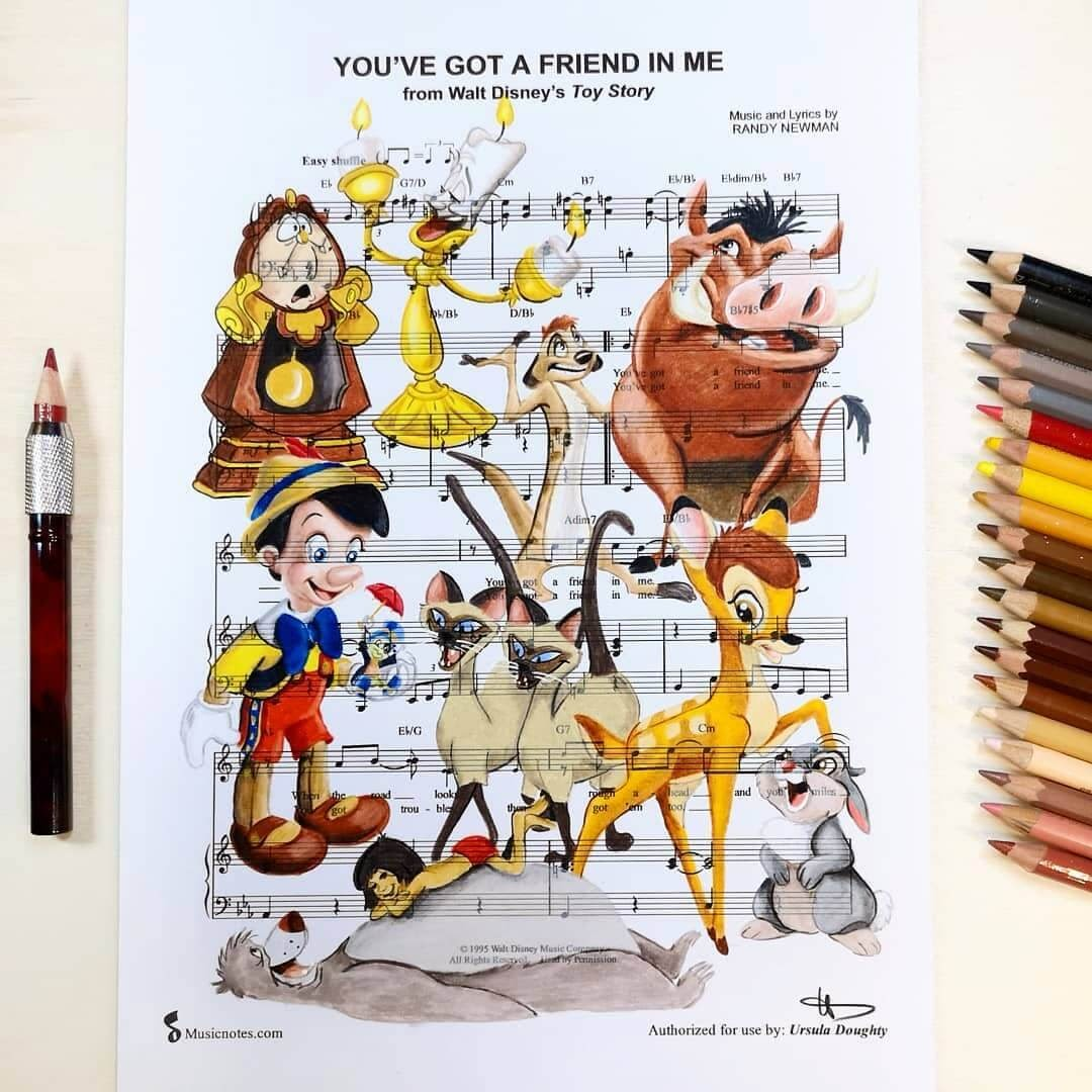 05-You-ve-got-a-Friend-in-Me-U-Doughty-Movie-Character-Drawings-on-Music-Sheets-www-designstack-co