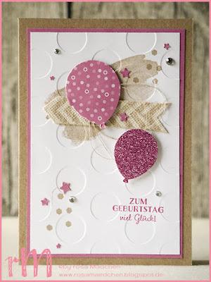 Stampin' Up! rosa Mädchen Kulmbach: Geburtstagskarten mit Luftballons, Perpetual Birthday Calender, In Partystimmung und Prägefolder Große Punkte