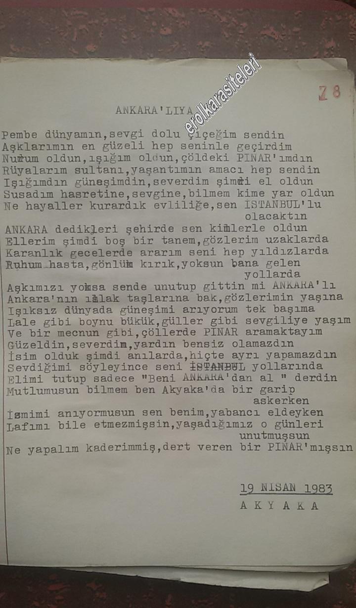 Nostaljik Asker Şiirleri - Ankaralı'ya