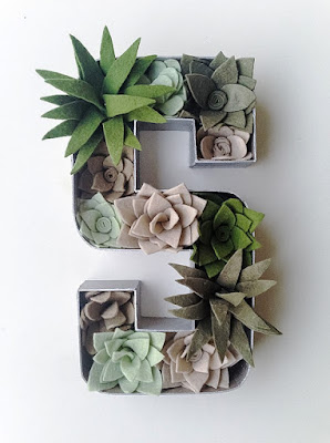 Felt Floral Letter '' S '' , filled with Succulents-Floral Letter-Felt Succulent