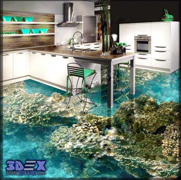 3d flooring for kitchen, 3d epoxy floors designs