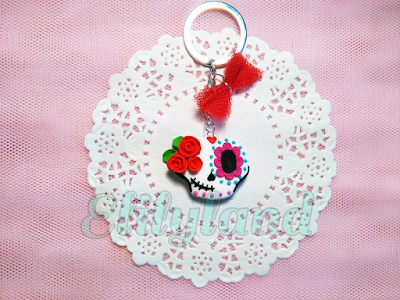 Colgante Llavero Broche Fimo Arcilla Calavera Mejicana Mexicana Flores Rosas