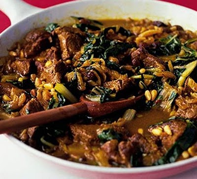 Moroccan chard & lamb pan-fry recipe